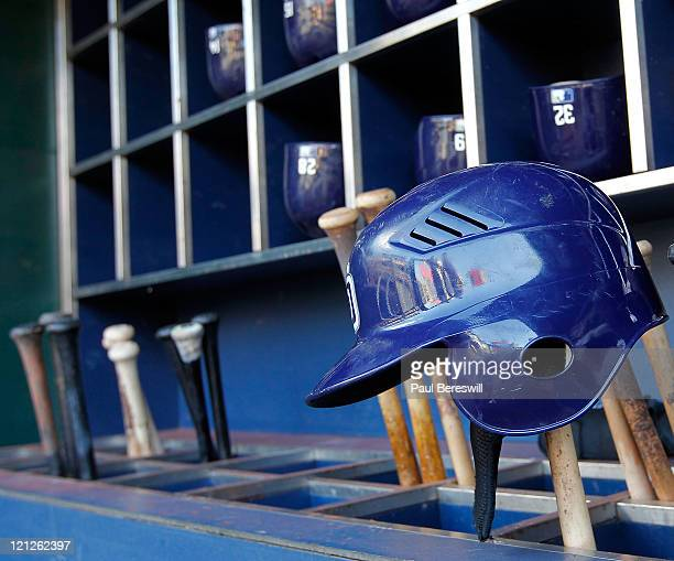 Batting helmets sit in the dugout before a Major League Baseball game between the New York Mets and San Diego Padres at Citi Field on August 10 2011...
