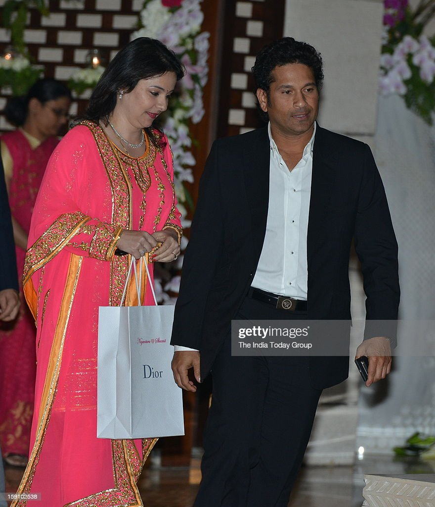 Batting maestro Sachin Tendulkar with his wife Anjali arrive at Dhirubhai Ambani's granddaughter Nayantara's engagement party, hosted by Mukesh Ambani and Nita Ambani at Antilla in Mumbai on Saturday, January 5, 2013.