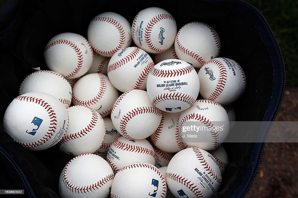 Batting practice balls on the field just before the start of the Grapefruit League Spring Training Game between the Pittsburgh Pirates and the New York Yankees at McKechnie Field on March 17, 2013 in Bradenton, Florida.
