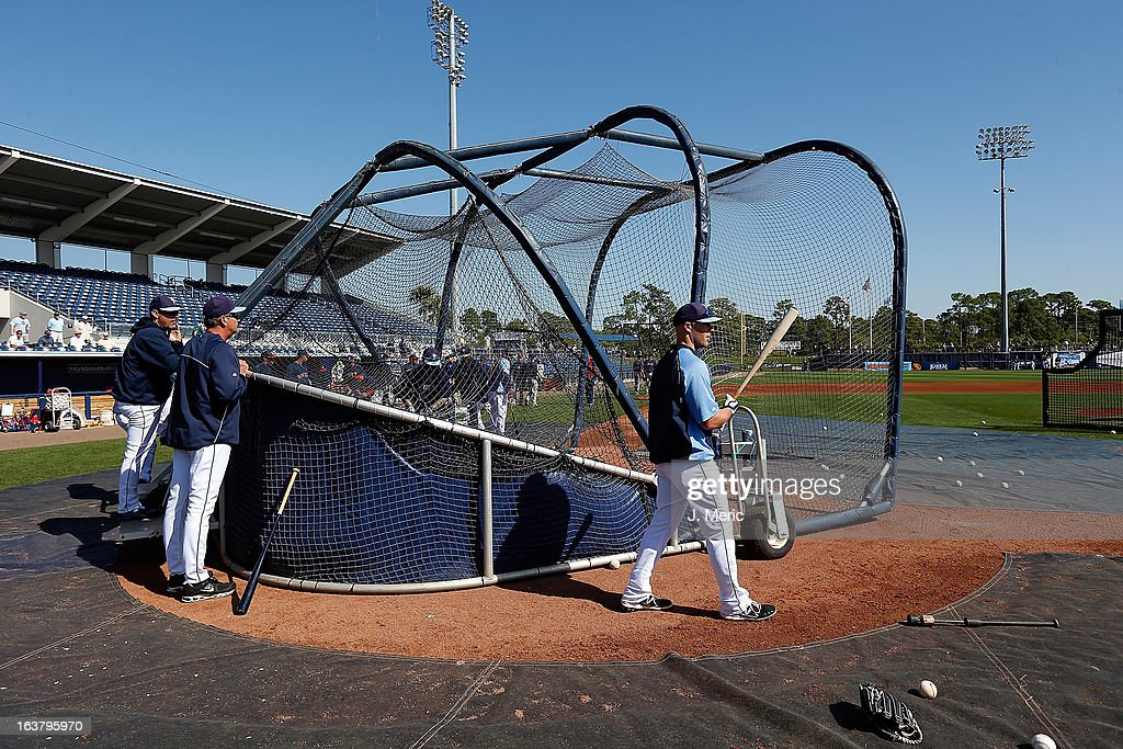 Batting practice just before the start of the Grapefruit League Spring Training Game between the Tampa Bay Rays and the Boston Red Sox at the Charlotte Sports Complex on March 16, 2013 in Port Charlotte, Florida.