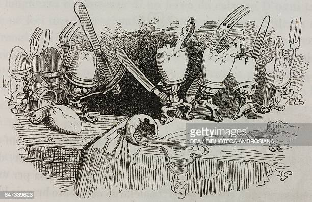 Battle between eggs armed with forks and knives illustration from Chapter Four Part I A Voyage to Lilliput from Gulliver's travels into several...