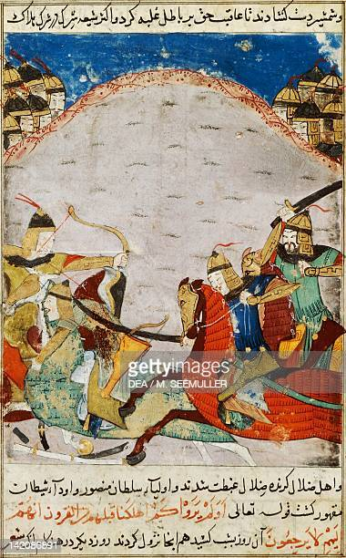 Battle between knights miniature from a Persian manuscript manuscript 206 folio 67
