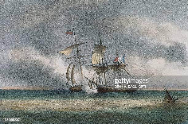 Battle between the French pirate ship L'Unite' and the English cutter Swan colour lithograph by Ferdinand Perrot 19th century Genoa Pegli Civico...
