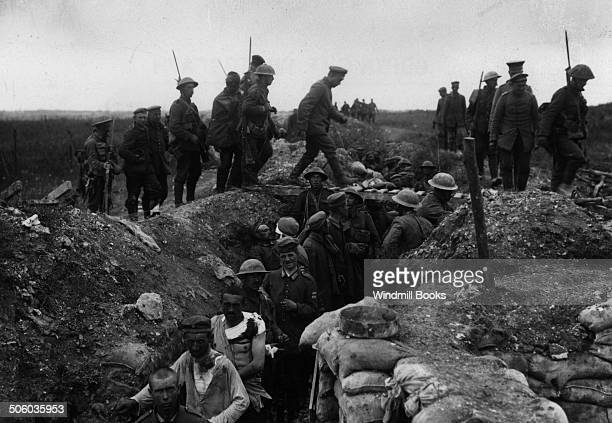 Battle of Albert Escort of the 10th Worcesters bring in German prisoners captured during the attack on La Boisselle 3rd July 1916 British Front...