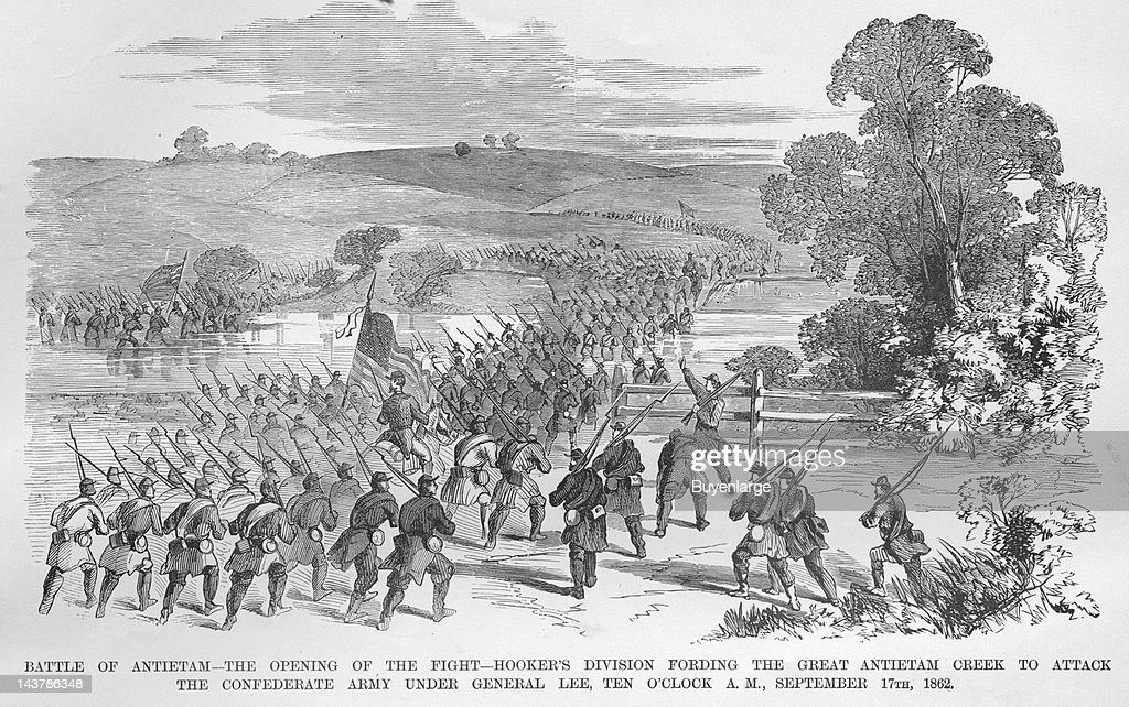 Battle of Antietam Hooker's Division Ford Antietam Creek to Attack Lee Sharpsburg Maryland September 17 1862 From an issue of Frank Leslie's...