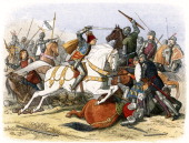Battle of Bosworth Field 22 August 1485 Richard III last Yorkist king of England from 1483 on a white horse Richard was killed on the battlefield and...