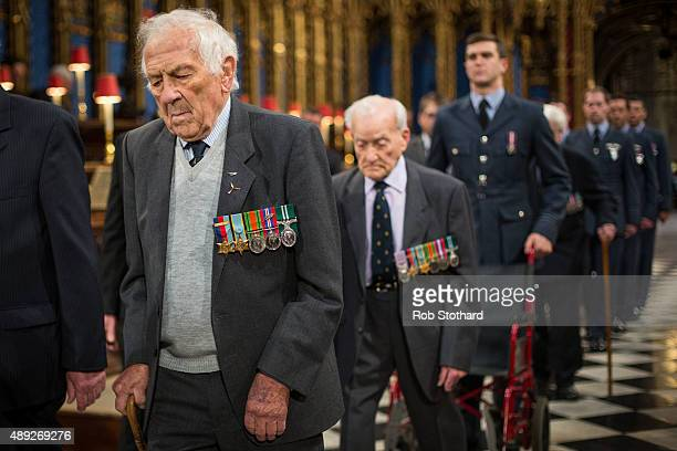 Battle of Britain veteran Squadron Leader T Pickering takes part in a rehearsal ahead of the Battle of Britain service at Westminster Abbey on...