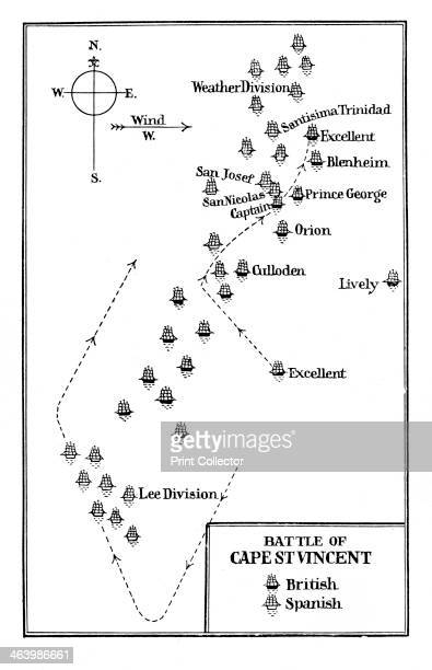 Battle of Cape St Vincent 1797 Map showing the British fleet under Admiral Sir John Jervis defeating the numerically superior Spanish Commanding HMS...