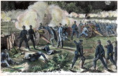 Battle of Cold Harbor Virginia American Civil War 3 June 1864 Union soldiers of BrigadierGeneral John Gibbon's division of MajorGeneral Winfield S...