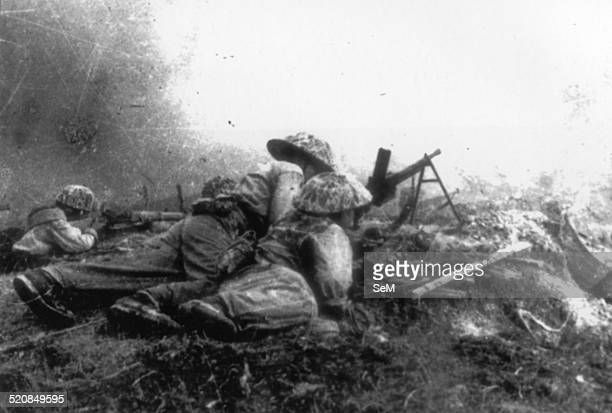 Battle of Dien Bien Phu1954 Vietminh soldiers forming many ambushing troops to snipe the enemies