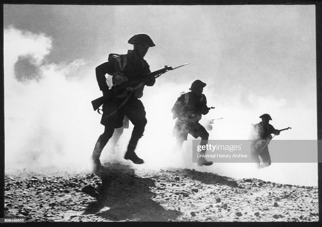 Battle of El Alamein, Advancing Soldiers of General Montgomery's 8th Army, 1942.