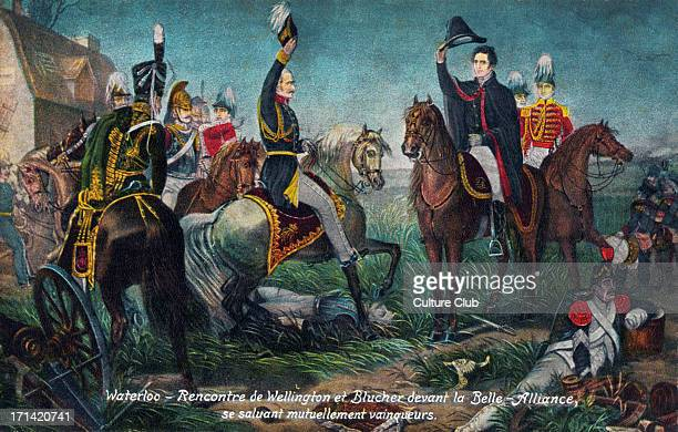 WATERLOO Battle of Greeting of Wellington and Blucher before the 'Belle Alliance' 1815 Napoleon