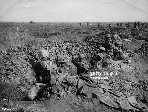 Battle of Guillemont 36th September1916 Infantry waiting their turn to advance A tank moving in distance Guillemont September 1916 British Front...