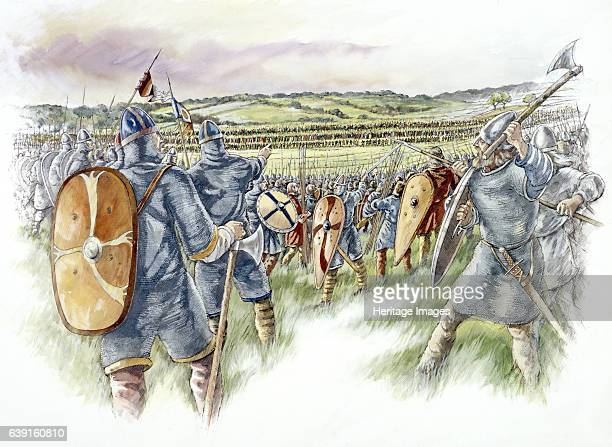 Battle of Hastings Battle Abbey Battle of Hastings reconstruction drawing looking over the heads of the English towards the Norman ranksThe Norman...