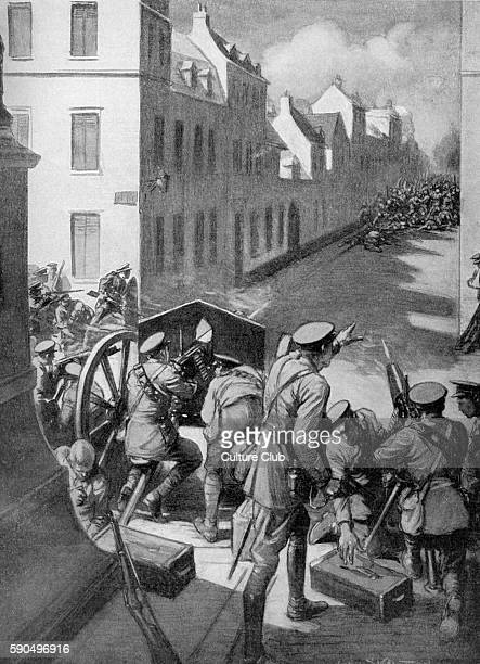 Battle of Le Cateau German infantry advancing into the town of Landrecies France are attacked by British artillery 26 August 1914 After the painting...