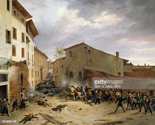 Battle of March 31 1849 in Consolazioni Street in Brescia by Faustino Joli oil on canvas 325x405 cm Brescia Museo Civico Del Risorgimento