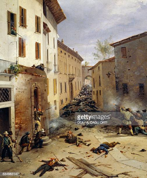 Battle of March 31 1849 in Consolazioni Street in Brescia by Faustino Joli oil on canvas 325x405 cm Detail Brescia Museo Civico Del Risorgimento