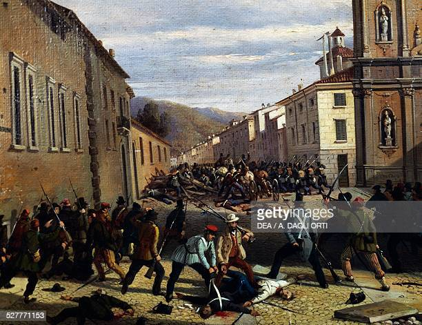 Battle of March 31 in Piazzetta San Barnaba by Faustino Joli oil on canvas 41x325 cm First War of Independence 19th century Italy Brescia Museo...
