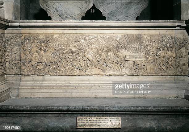 Battle of Marignano September 1515 detail from Francis I and Claude de France's tomb by Philibert de l'Orme and Pierre Bontemps low relief Basilica...