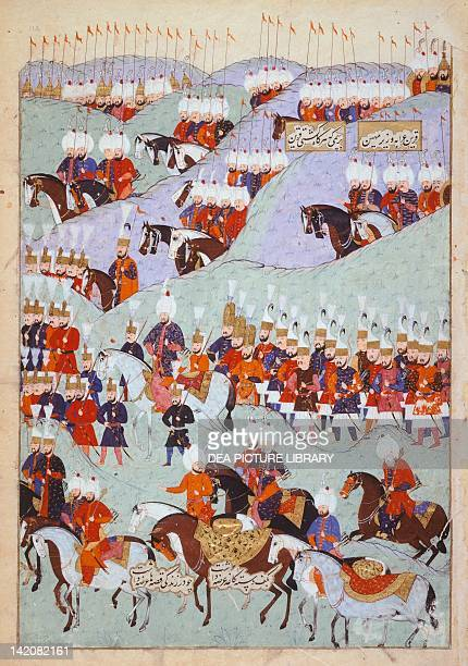Battle of Mohacs in Hungary on August 29 miniature from the History of Suleiman the Magnificent's Conquests in Europe Ottoman manuscript Turkey 16th...