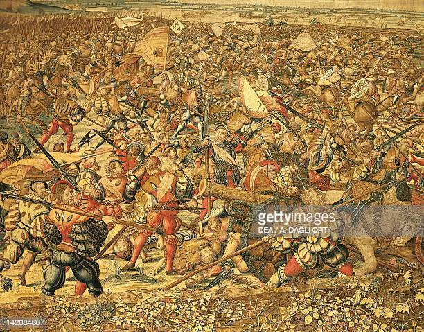 Battle of Pavia Charles V's troops storm the French camp 16th century tapestry based on a cartoon by Bernaert van Orley manufacture of Brussels