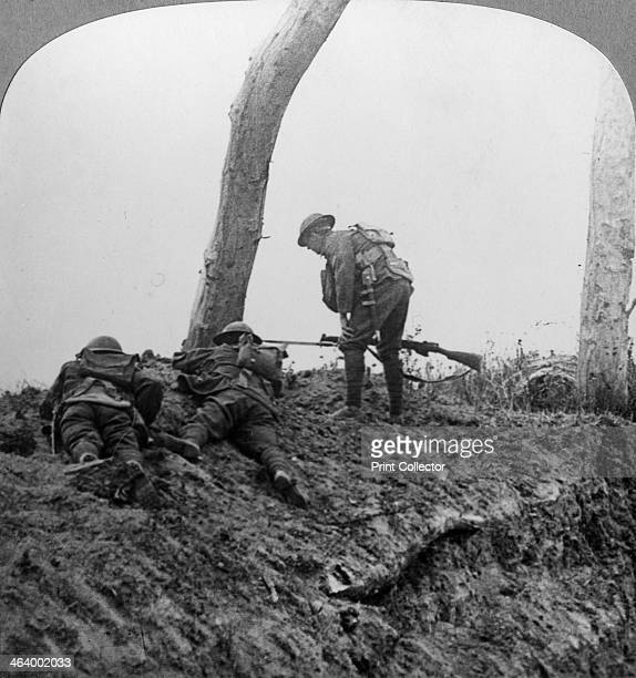 Battle of Polygon Wood near Ypres Flanders Belgium World War I September 1917 British North Country troops attacking a German lair The Battle of...