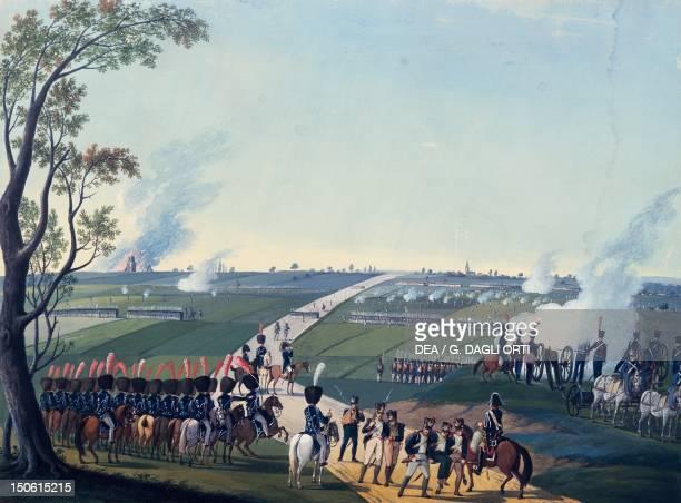 Battle of Soufflenheim watercolour Napoleonic Wars France 19th century