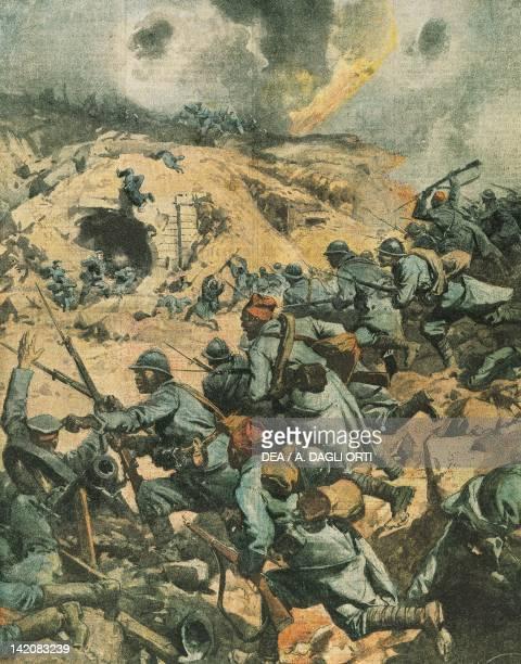 Battle of Verdun in France Illustrator Achille Beltrame from La Domenica del Corriere 1916