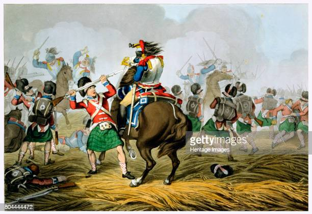 Battle of Waterloo 1815 'French Cuirassiers at the Battle of Waterloo Charged and Defeated by the Highlanders and the Scots Greys' From Historic...