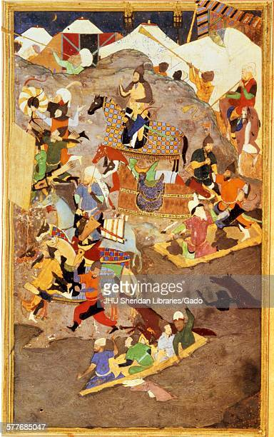 Battle on the River Oxus from Zafarnama or Book of Victory the biography of Timur known to the English world as Tamerlane the text of the Zafarnama...