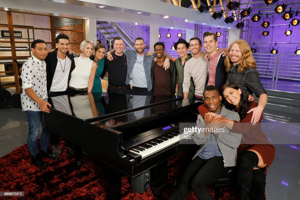 THE VOICE -- 'Battle Reality' -- Pictured: (l-r) Brandon Brown, Anthony Alexander, Emily Luther, Whitney Fenimore, Gary Carpentier, Adam Levine, Brandon Showell, Michael Kight, Dylan Gerard, Dave Crosby, Jon Mero, Adam Pearce, Hannah Mrozak --