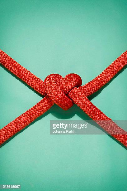 Battle ropes tied into a heart shape