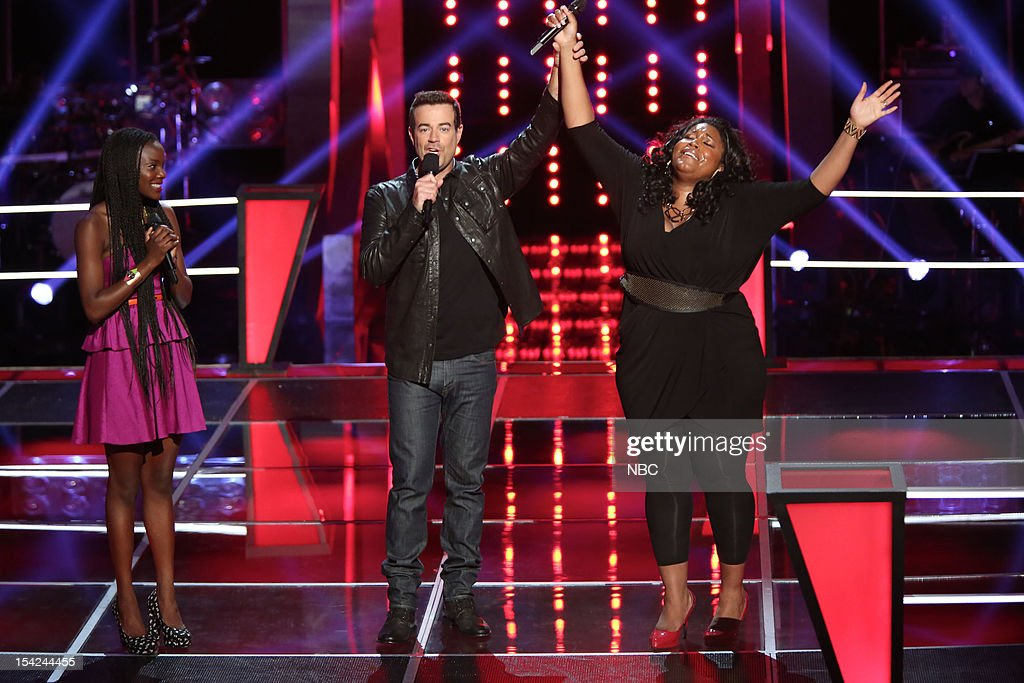 THE VOICE -- 'Battle Rounds' Episode 312 -- Pictured: (l-r) Adanna Duru, <a gi-track='captionPersonalityLinkClicked' href=/galleries/search?phrase=Carson+Daly&family=editorial&specificpeople=202941 ng-click='$event.stopPropagation()'>Carson Daly</a>, Michelle Brooks Thompson --