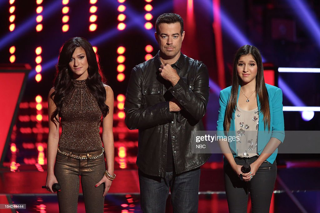 THE VOICE -- 'Battle Rounds' Episode 312 -- Pictured: (l-r) Alessandra Guercio, <a gi-track='captionPersonalityLinkClicked' href=/galleries/search?phrase=Carson+Daly&family=editorial&specificpeople=202941 ng-click='$event.stopPropagation()'>Carson Daly</a>, Kayla Nevarez --