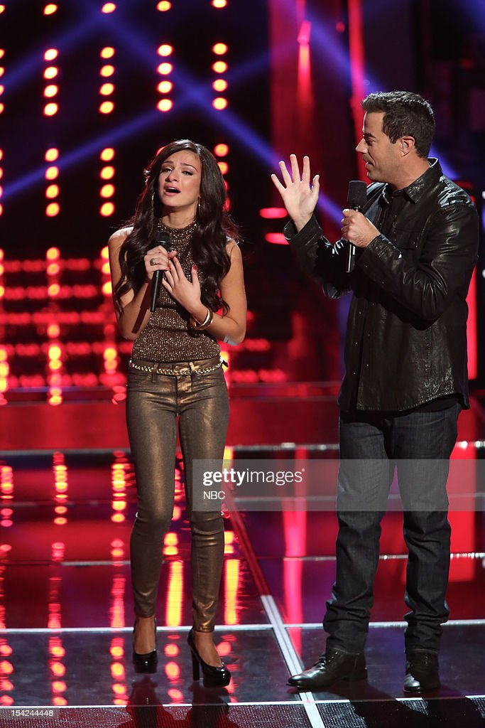 THE VOICE -- 'Battle Rounds' Episode 312 -- Pictured: (l-r) Alessandra Guercio, <a gi-track='captionPersonalityLinkClicked' href=/galleries/search?phrase=Carson+Daly&family=editorial&specificpeople=202941 ng-click='$event.stopPropagation()'>Carson Daly</a> --