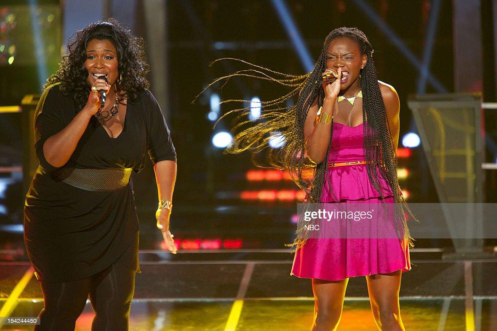 THE VOICE -- 'Battle Rounds' Episode 312 -- Pictured: (l-r) Michelle Brooks Thompson, Adanna Duru --