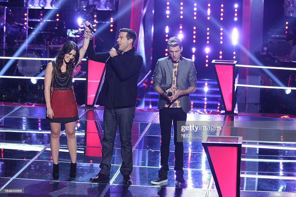 THE VOICE -- 'Battle Rounds' Episode 507 -- Pictured: (l-r) Grey Paluszynski, <a gi-track='captionPersonalityLinkClicked' href=/galleries/search?phrase=Carson+Daly&family=editorial&specificpeople=202941 ng-click='$event.stopPropagation()'>Carson Daly</a>, Nic Hawk --