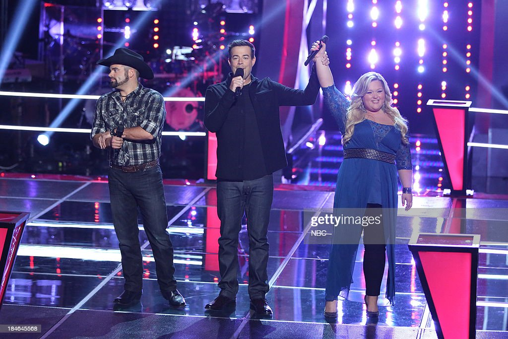 THE VOICE -- 'Battle Rounds' Episode 507 -- Pictured: (l-r) Justin Chain, <a gi-track='captionPersonalityLinkClicked' href=/galleries/search?phrase=Carson+Daly&family=editorial&specificpeople=202941 ng-click='$event.stopPropagation()'>Carson Daly</a>, Shelbie Z. --