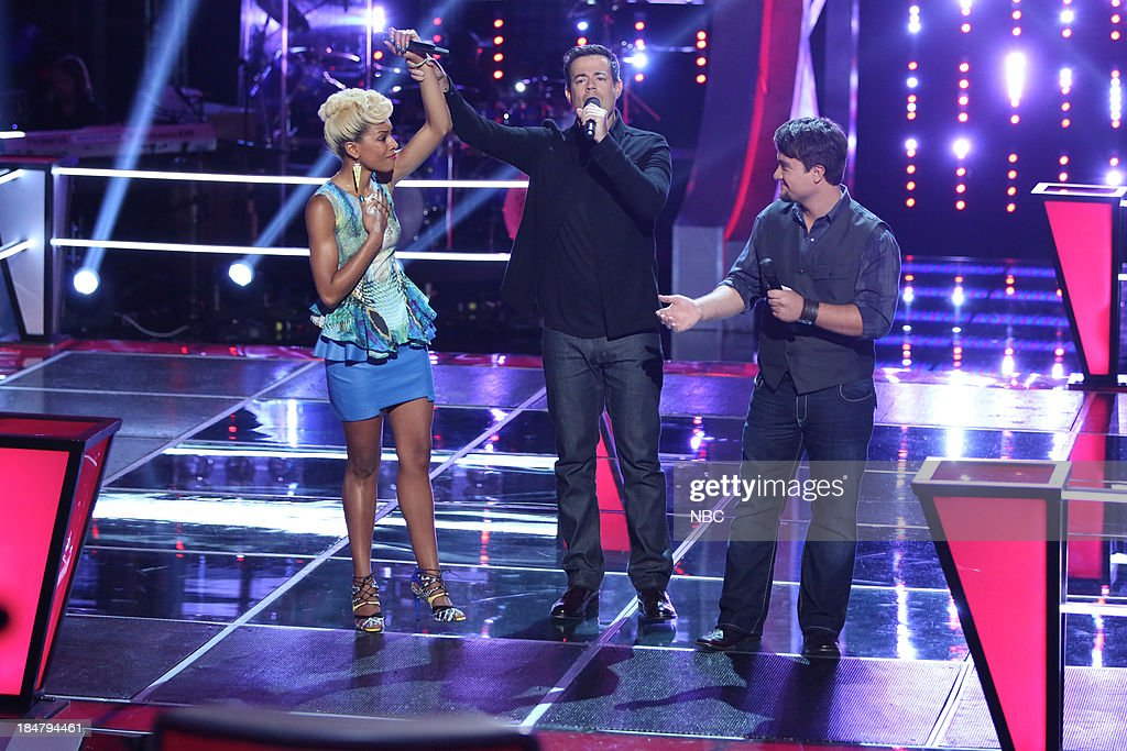 THE VOICE -- 'Battle Rounds' Episode 508 -- Pictured: (l-r) Ashley DuBose, <a gi-track='captionPersonalityLinkClicked' href=/galleries/search?phrase=Carson+Daly&family=editorial&specificpeople=202941 ng-click='$event.stopPropagation()'>Carson Daly</a>, Justin Blake --