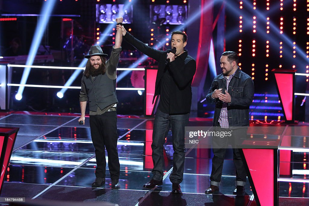 THE VOICE -- 'Battle Rounds' Episode 508 -- Pictured: (l-r) <a gi-track='captionPersonalityLinkClicked' href=/galleries/search?phrase=Cole+Vosbury&family=editorial&specificpeople=11402593 ng-click='$event.stopPropagation()'>Cole Vosbury</a>, <a gi-track='captionPersonalityLinkClicked' href=/galleries/search?phrase=Carson+Daly&family=editorial&specificpeople=202941 ng-click='$event.stopPropagation()'>Carson Daly</a>, Lupe Carroll --