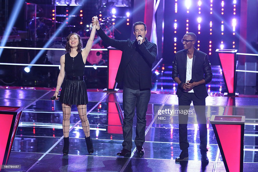 THE VOICE -- 'Battle Rounds' Episode 508 -- Pictured: (l-r) Kat Robichaud, <a gi-track='captionPersonalityLinkClicked' href=/galleries/search?phrase=Carson+Daly&family=editorial&specificpeople=202941 ng-click='$event.stopPropagation()'>Carson Daly</a>, Renard Anthony --