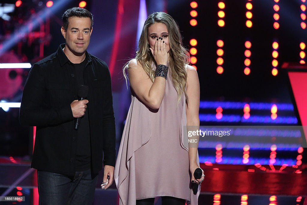 THE VOICE -- 'Battle Rounds' Episode 509 -- Pictured: (l-r) <a gi-track='captionPersonalityLinkClicked' href=/galleries/search?phrase=Carson+Daly&family=editorial&specificpeople=202941 ng-click='$event.stopPropagation()'>Carson Daly</a>, Lina Gaudenzi --