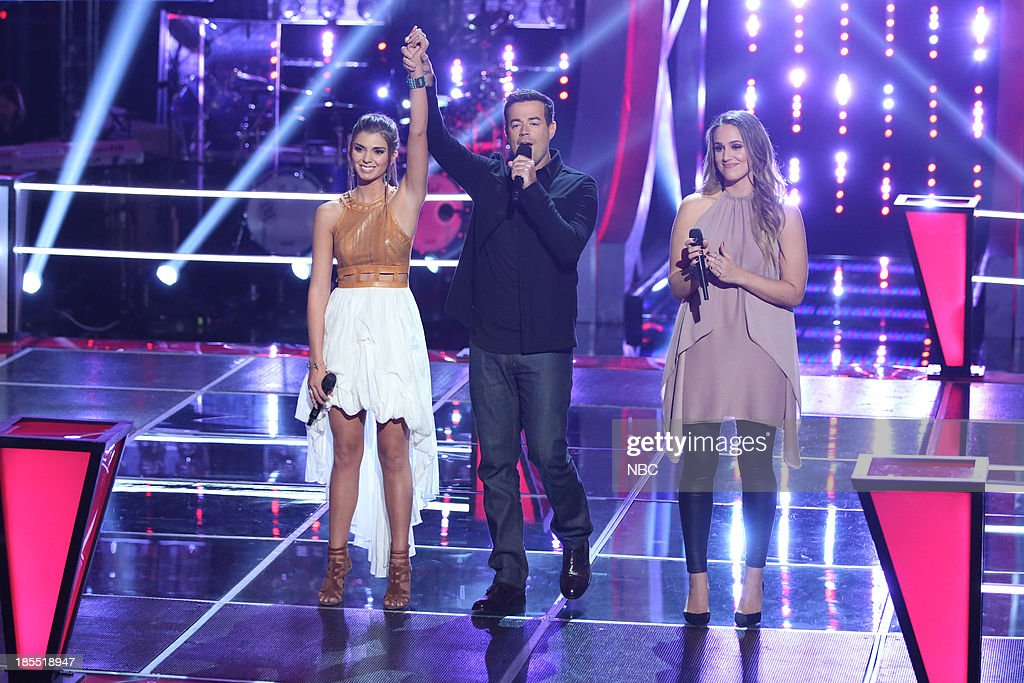 THE VOICE -- 'Battle Rounds' Episode 509 -- Pictured: (l-r) Destinee Quinn, <a gi-track='captionPersonalityLinkClicked' href=/galleries/search?phrase=Carson+Daly&family=editorial&specificpeople=202941 ng-click='$event.stopPropagation()'>Carson Daly</a>, Lina Gaudenzi --