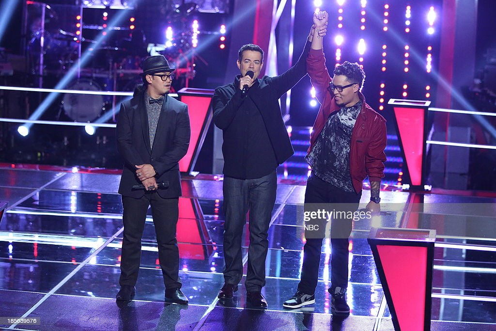 THE VOICE -- 'Battle Rounds' Episode 510 -- Pictured: (l-r) Barry Black, Carson Daly, Preston Pohl --