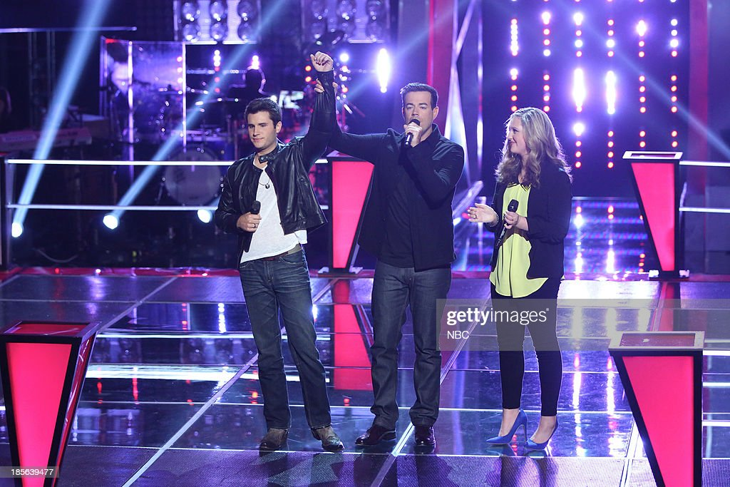 THE VOICE -- 'Battle Rounds' Episode 510 -- Pictured: (l-r) Brandon Chase, Carson Daly, Emily Randolph --