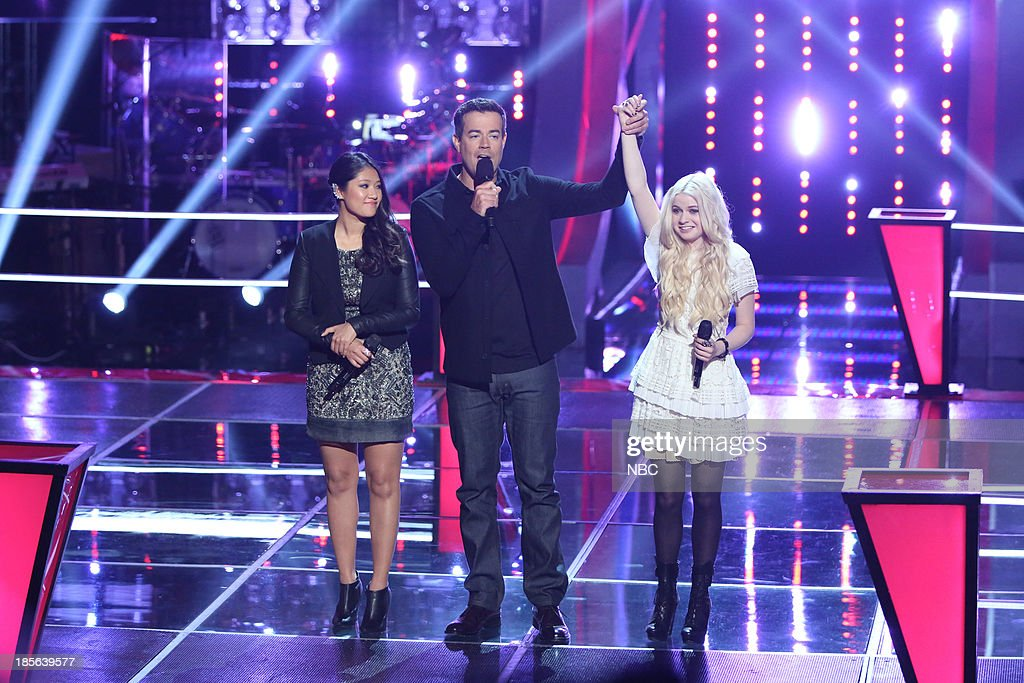 THE VOICE -- 'Battle Rounds' Episode 510 -- Pictured: (l-r) Cilla Chan, Carson Daly, Holly Henry --