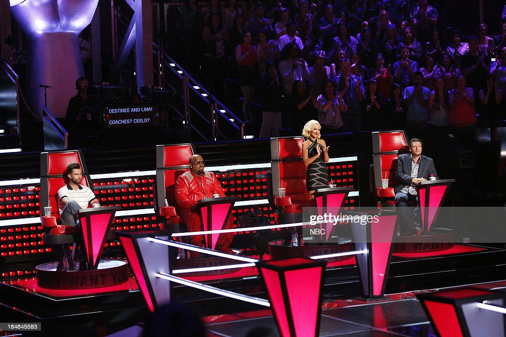 THE VOICE -- 'Battle Rounds' -- Pictured: (l-r) <a gi-track='captionPersonalityLinkClicked' href=/galleries/search?phrase=Adam+Levine+-+Singer&family=editorial&specificpeople=202962 ng-click='$event.stopPropagation()'>Adam Levine</a>, CeeLo Green, <a gi-track='captionPersonalityLinkClicked' href=/galleries/search?phrase=Christina+Aguilera&family=editorial&specificpeople=171272 ng-click='$event.stopPropagation()'>Christina Aguilera</a>, <a gi-track='captionPersonalityLinkClicked' href=/galleries/search?phrase=Blake+Shelton&family=editorial&specificpeople=2352026 ng-click='$event.stopPropagation()'>Blake Shelton</a> --