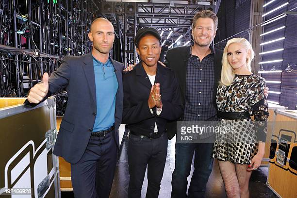 THE VOICE 'Battle Rounds' Pictured Adam Levine Pharrell Williams Blake Shelton Gwen Stefani