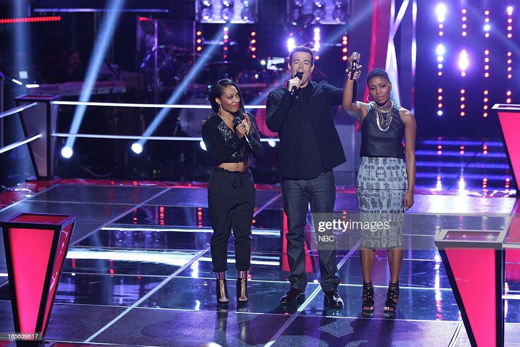 THE VOICE -- 'Battle Rounds' -- Pictured: (l-r) Keaira LaShae, Carson Daly, Tamara Chauniece --