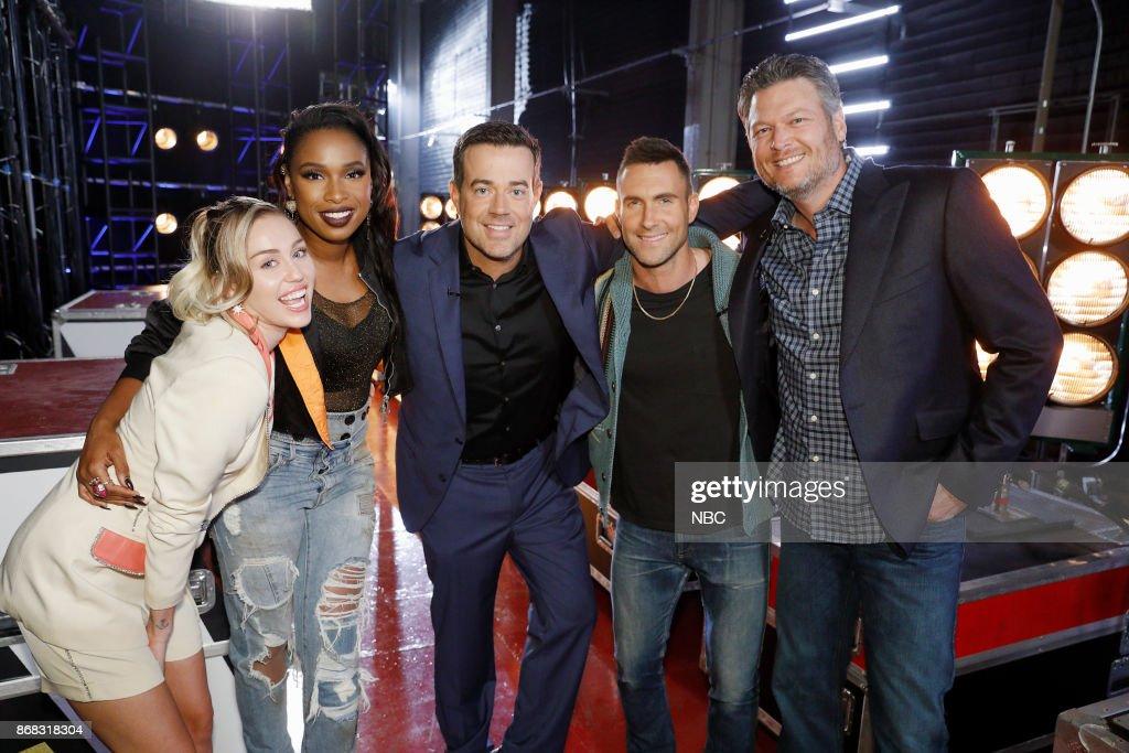 THE VOICE -- 'Battle Rounds' -- Pictured: (l-r) Miley Cyrus, Jennifer Hudson, Carson Daly, Adam Levine, Blake Shleton --